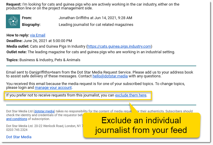 Exlude journalist from media request feed