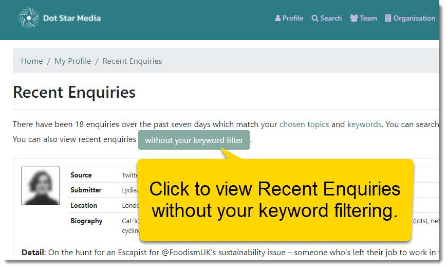Toggle Keyword Filtering
