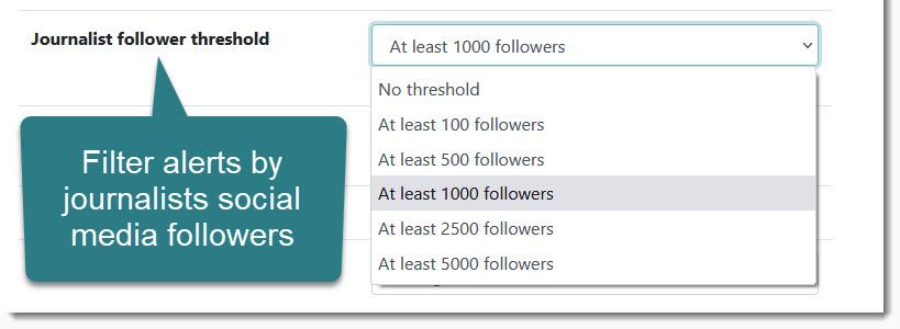 Journalist follower threshold setting