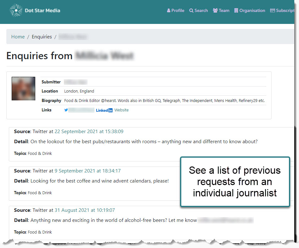 Previous journalist requests